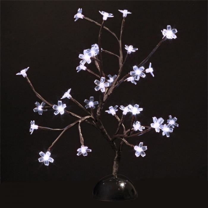 arbre lumineux 32 led fleurs blanche piles achat. Black Bedroom Furniture Sets. Home Design Ideas
