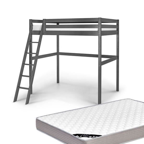 lit mezzanine 2 personnes 140x200 avec matelas gris anthracite achat vente lit mezzanine. Black Bedroom Furniture Sets. Home Design Ideas