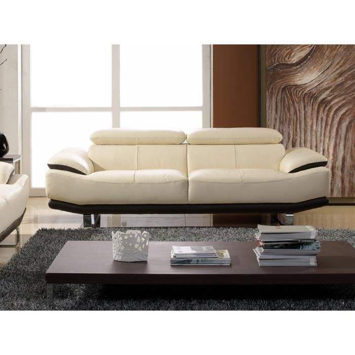 canap 3 places en cuir prestige beige et noir osmoz achat vente canap sofa divan. Black Bedroom Furniture Sets. Home Design Ideas