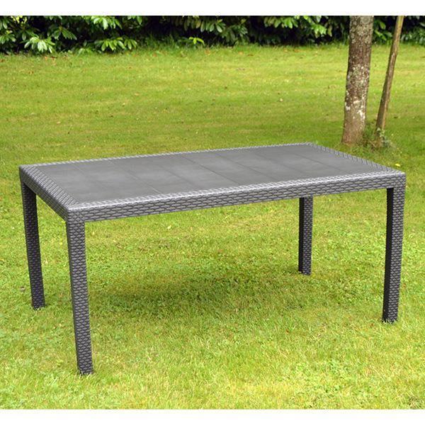 Table de jardin Prince en résine tressée gris anthracite de ...