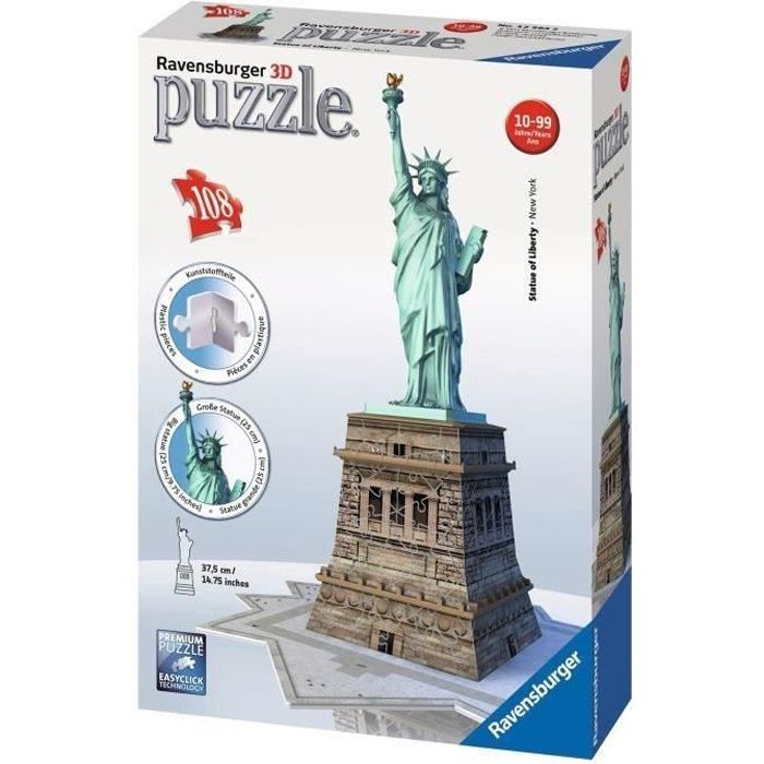 ravensburger puzzle 3d statue de la libert 108 pcs achat vente puzzle cdiscount. Black Bedroom Furniture Sets. Home Design Ideas