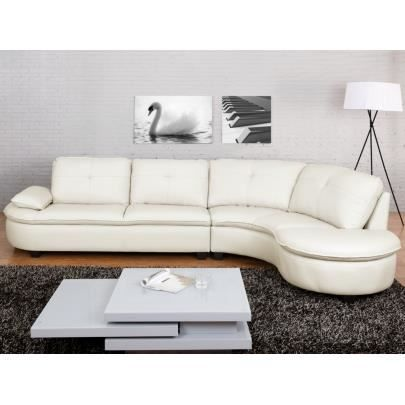 canap d 39 angle xxl en cuir blaise blanc ang achat. Black Bedroom Furniture Sets. Home Design Ideas
