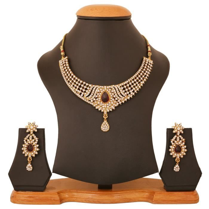 Indian Bollyod Red Faux Rubies femmes et blanc strass Collier Ensemble de bijoux pourBJDCW