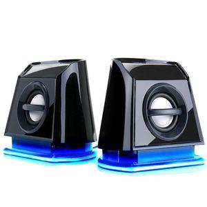 HAUT-PARLEUR - MICRO Enceinte Haut-Parleur Portable PC LED Bleus