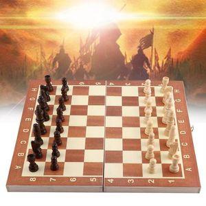 JEU SOCIÉTÉ - PLATEAU Échiquier en bois Jeu d'échecs portable pliant-GAR