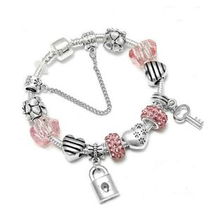 BRACELET - GOURMETTE 18 cm Bracelet Charm Clé Cristal Swarovski* Style