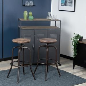 TABOURET DE BAR Lot de 2 Tabouret de bar bistrot vintage industrie