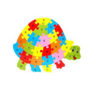 PUZZLE Puzzle de 26 lettres en bois avec animaux Ya-138