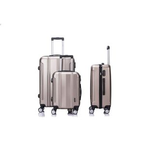 SET DE VALISES LYS - Set de 3 Valises Taupe Rigide ABS 4 Roues do