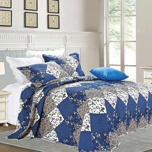 JETÉE DE LIT - BOUTIS couvre-lit boutis matelassé 220 x 240 bleu+2 avec