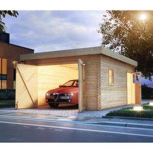 GARAGE Garage en bois massif 20,78m² toit plat  madriers