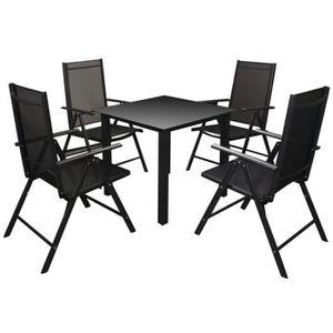 SALON DE JARDIN  Meuble de jardin 5 pcs :1 table+4 chaise Aluminium