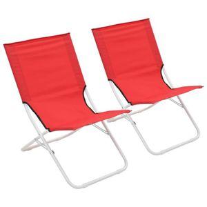 FAUTEUIL vidaXL Chaises pliables de plage 2 pcs Rouge