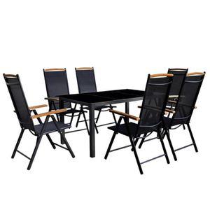 vidaXL Mobilier à dîner de jardin 7 pcs et chaises pliables Aluminium