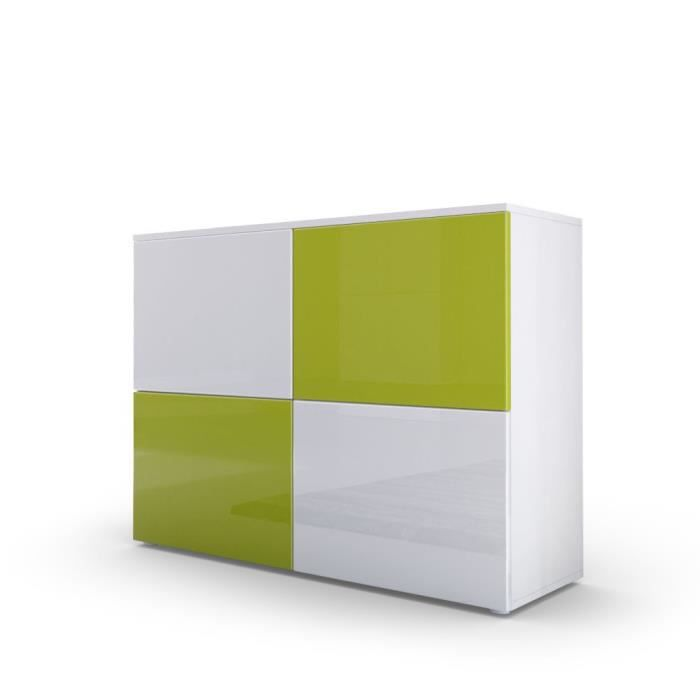 Commode design avec le corps mat blanc et façades laquées bicolores blanches et vertes claires