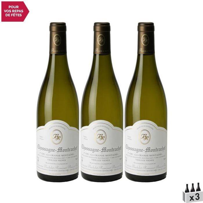 Chassagne-Montrachet 1er Cru La Grande Montagne Blanc 2019 - Lot de 3x75cl - Domaine Bachelet-Ramonet - Vin AOC Blanc de Bourgogne
