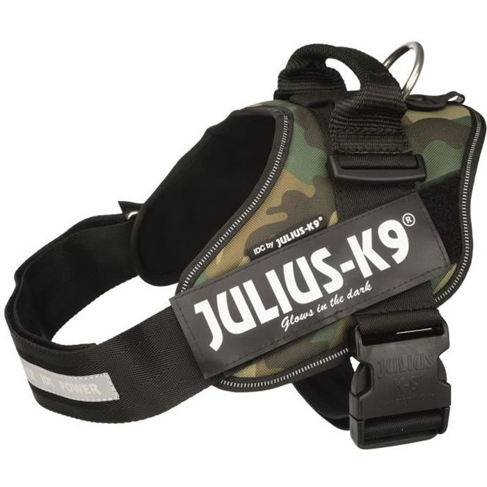 JULIUS K9 Harnais Power IDC 1–L : 63–85 cm - 50 mm - Camouflage - Pour chien