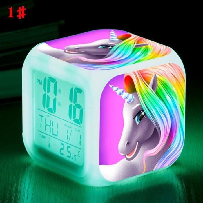 5pcs Licorne réveil LED lumière réveil Cartoon Cartoon garçons garçons filles réveil jouets-1 b05794