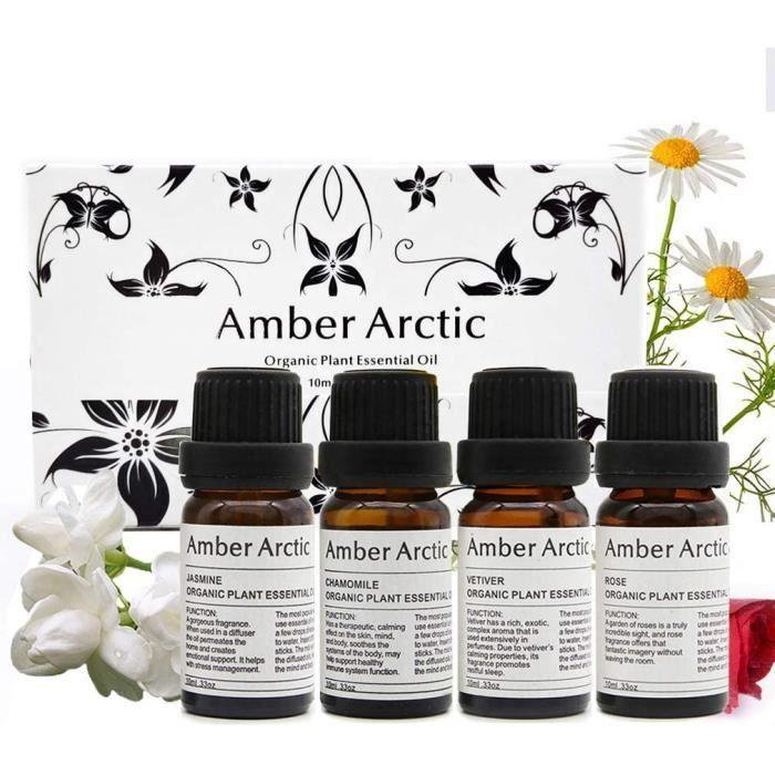 AMBER ARCTIC 4 Paquet 10ml ensemble d'huile essentielle, huiles essentielles d'aromathérapie (jasmin, vétiver, rose, camomille)
