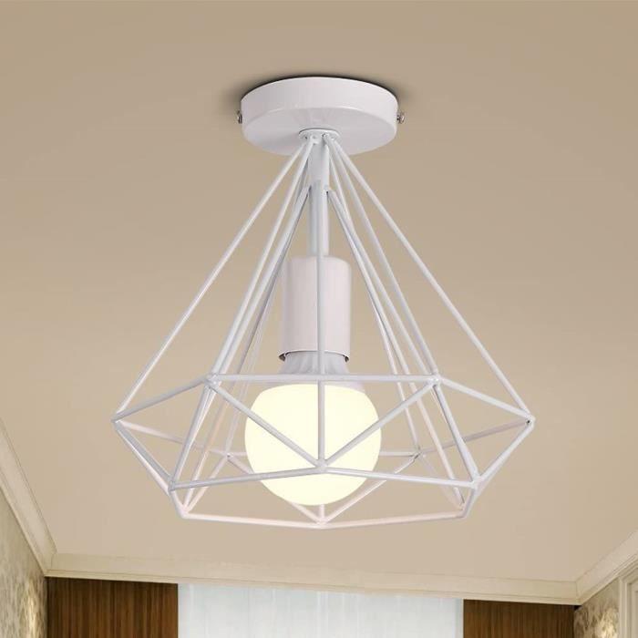 PLAFONNIER Luminaire Plafonnier Industrielle Diamant M&eacutetal en forme Cage Blanc R&eacutetro Lustre Suspension pour Salle 683