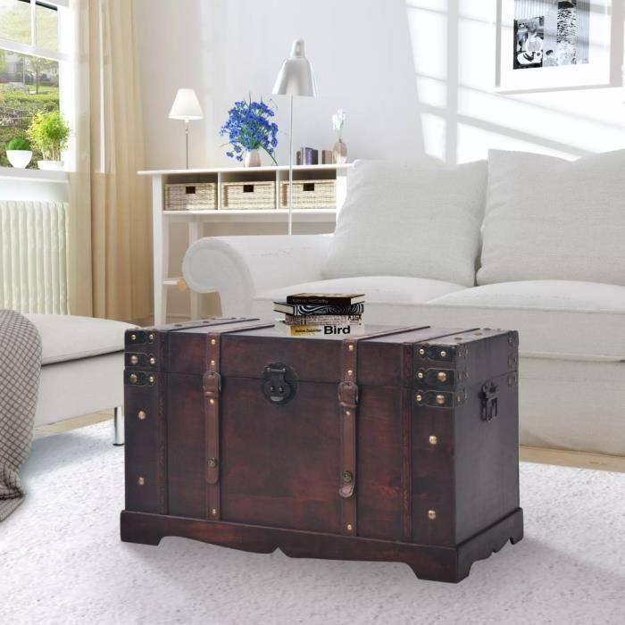 ��4904 Coffre vintage de rangement EXTÉRIEUR Décor - Banc de rangement Malle de rangement Boîte Contemporain Bois 66 x 38 x 40 cm