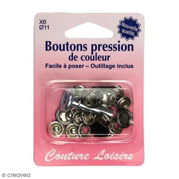 Kit bouton pression Noir 11 mm avec outil de pose - 6 pcs