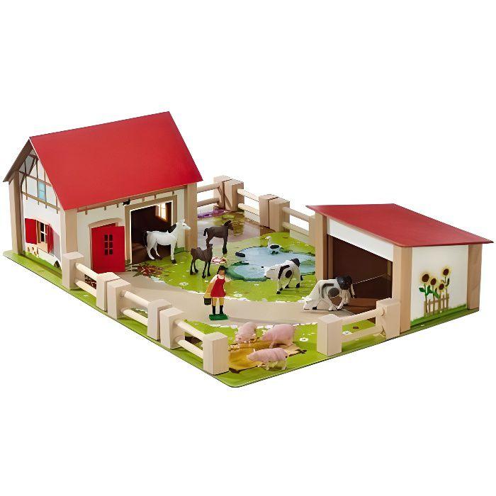 Ferme En Bois Garnie Avec 12 Accessoires 51 X 36 cm (Lxl)- Animaux - Personnage - Figurine