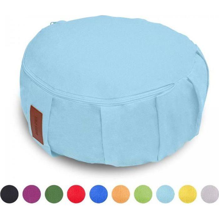 GORILLA SPORTS coussin de méditation bleu ciel - Hauteur d'assise 18 cm - coussin de yoga avec rembourrage en balles d'épeautre -