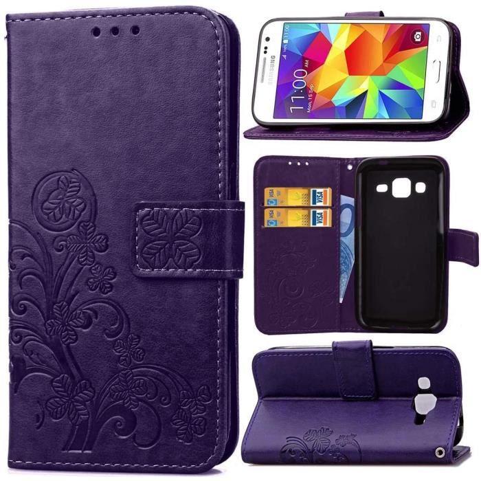 Étui Samsung Galaxy Core Prime (G360), Haute Qualité Retro PU Premium Flip Wallet avec Stent Function avec Credit Card Slot TNB