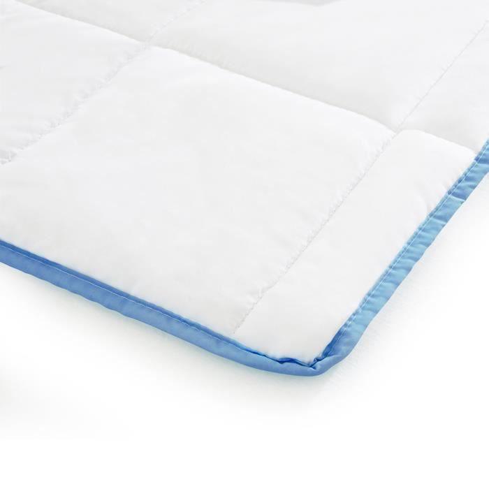 Couette 155x220 été bords bleus confortable hypoallergénique pratique couverture respirante sommeil réparateur housse microfibre
