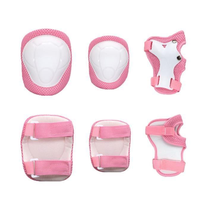 Équipement de protection pour vélo pour enfants, support de poignet + support de coude + support de genou Rose S