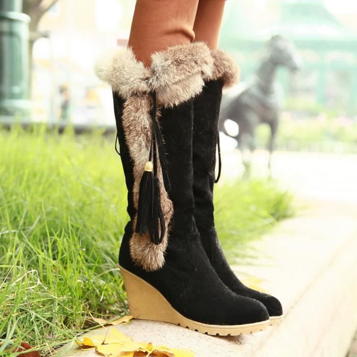 Chaussures d'augmentation de gland de loisirs pour femmes à bout rond pour garder au chaud Bottes de neige à long tube Noir