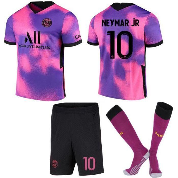 2021 Paris Jersey Three Away Rose Violet Football Maillot No. 10 Neymar Enfants Costume