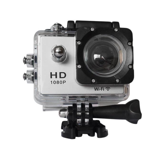 Caméra sport ultra HD 1080P 12MP WIFI caméra d'action étanche 30m 2- LCD écran kit d'accessoires (blanc)