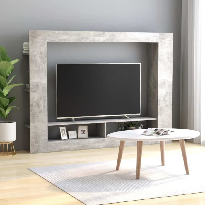Meuble TV Gris béton 152x22x113 cm Aggloméré