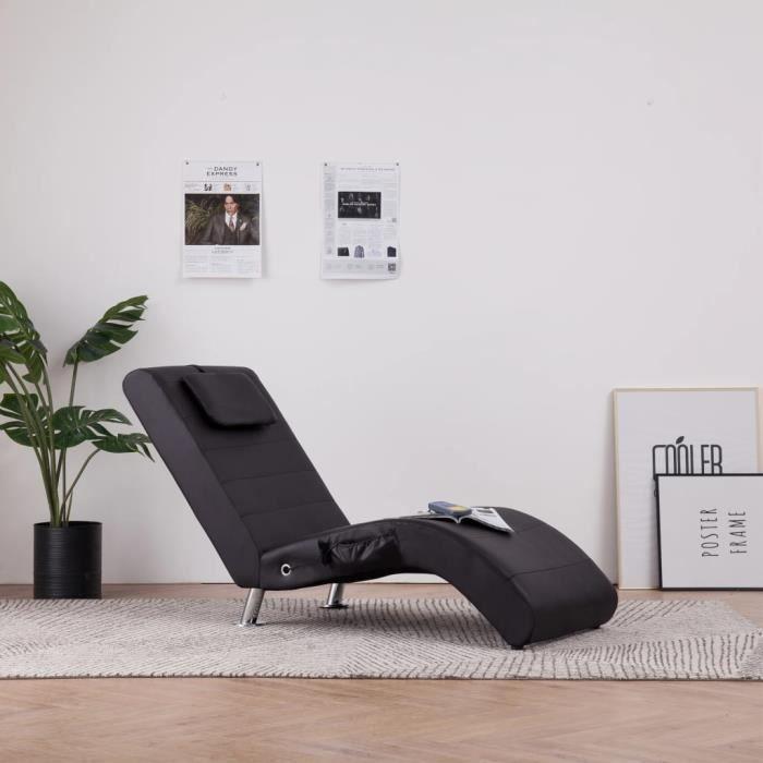 Chaise longue de massage + télécommande avec coussin Marron Similicuir