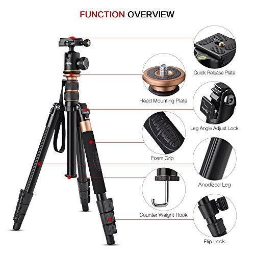 Rangers Trépied Caméra,Professionnel Trépied et Monopode pour DSLR Caméra DV, Hauteur Max : 55-, la charge max: 10KG, Portable Alumi
