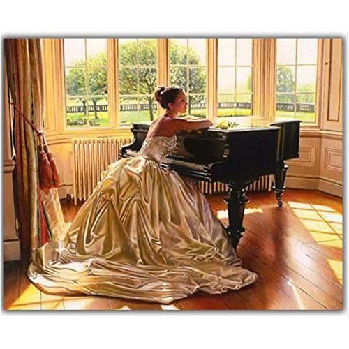 Peinture en Diamant 5D Diy Diamond peinture Beauté et piano Diamant Broderie 3D Plein Carré Diamant Mosaïque Strass SaloWP511535