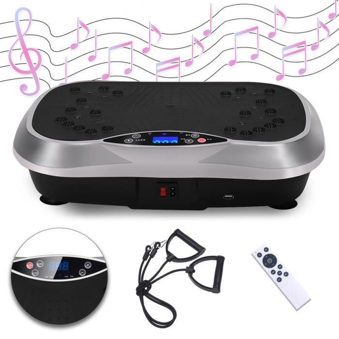 SINBIDE® Fitness Plateforme Vibrante et Oscillante Ultra Slim - Perte de poids & Brûleur de Graisses à la Maison - Bluetooth Argent