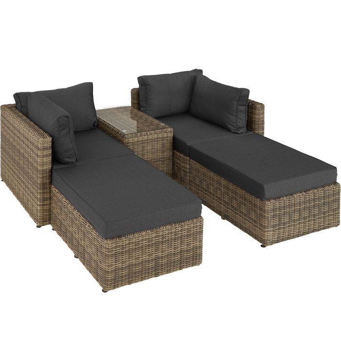 TECTAKE Canapé de jardin SAN DOMINO 4 Places modulable en Bain de soleil en Résine tressée et Aluminium Marron naturel