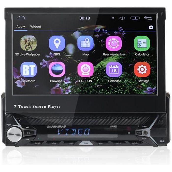 TEMPSA Autoradio bluetooth WIFI GPS 1086P 7pouces 1Din Android 6.0 FM Rétractible Tactile 3G