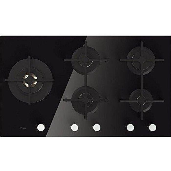 Whirlpool table Gaz GOA9523/NB (86 cm, 5 Foyers verre noir)