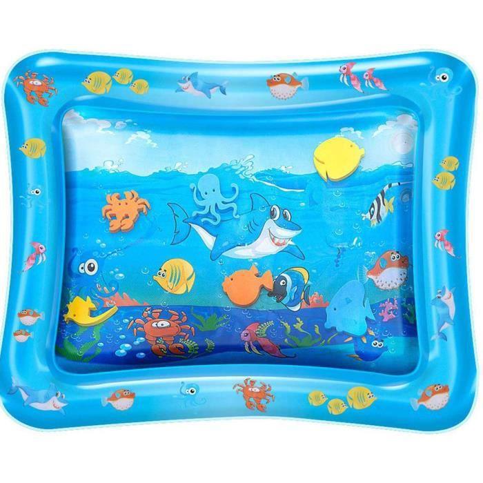 Tapis d'eau Gonflable de Bébé - Tapis de Jeux Natte de Jeu d'eau Bébé Mat de Jeu Animaux (Requin)