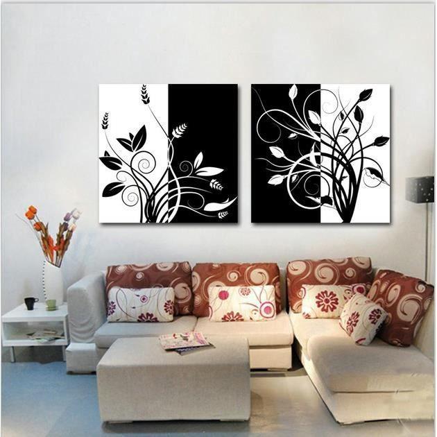 2 Tableau Noir Et Blanc Fleur Imprimer Peinture Sur Le Mur Art Toile Photos Pour Salon Sans Cadre Modulaire Photos