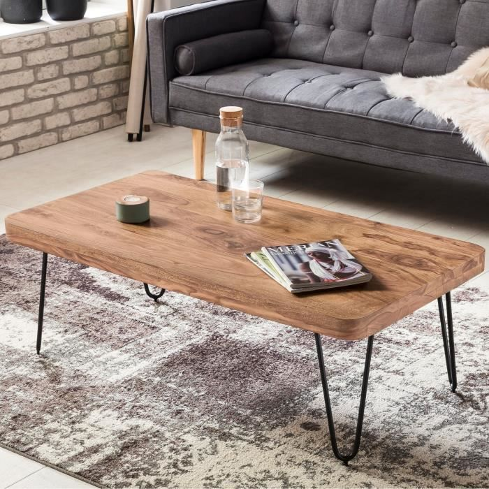 table basse wohnling acacia feuillus table basse 115 x 60 x 40