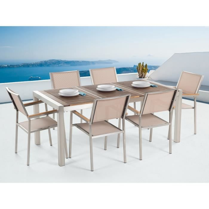 Table de jardin acier inox - plateau bois triple 180 cm avec ...