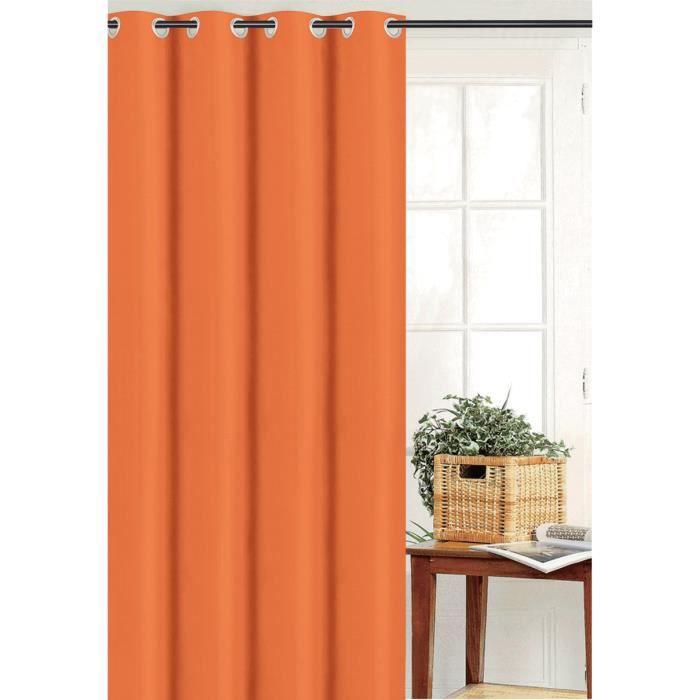 RIDEAU Rideau Uni Effet Bachette Orange 135 x 180 cm