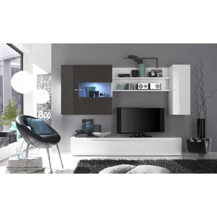 Composition murale tv design laqu gris et blanc achat vente meuble tv co - Composition murale ikea ...