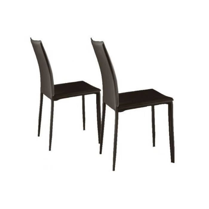 Lot de 2 chaises design cathy en pu marron achat vente chaise marron so - Chaises design en soldes ...