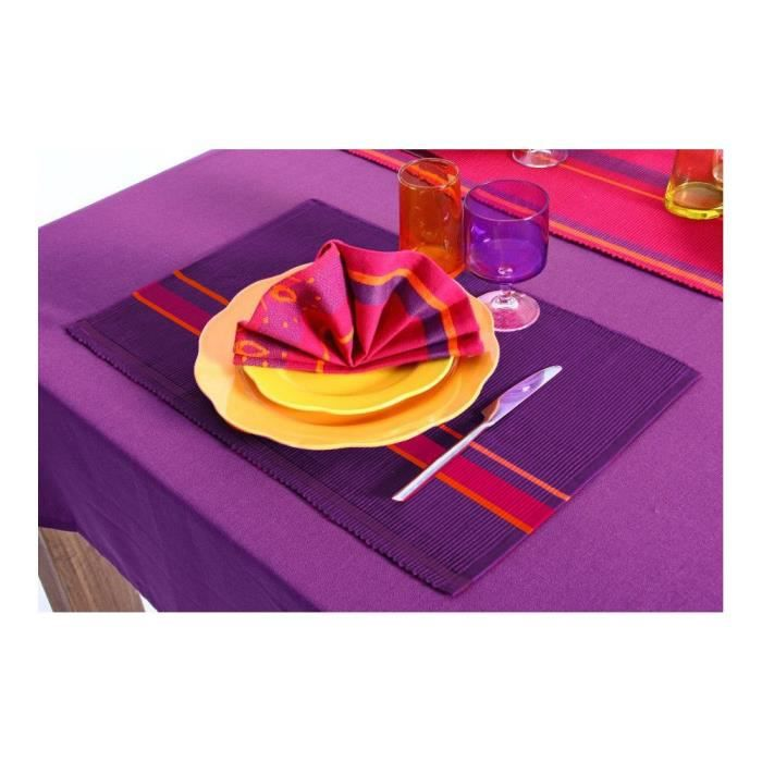 Lot 4 sets table coton violet achat vente set de table for Set de table violet